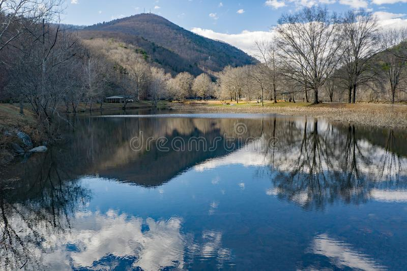 View of Smith Mountain. Sandy Level, VA – January 8th:A view of Smith Mountain from the picnic area at the Smith Mountain Hydroelectric Dam located, in stock image