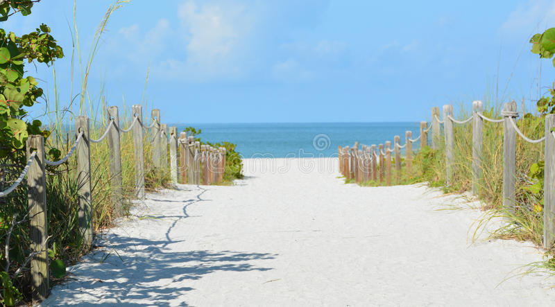 Sandy Pathway till havet via stranden royaltyfria bilder