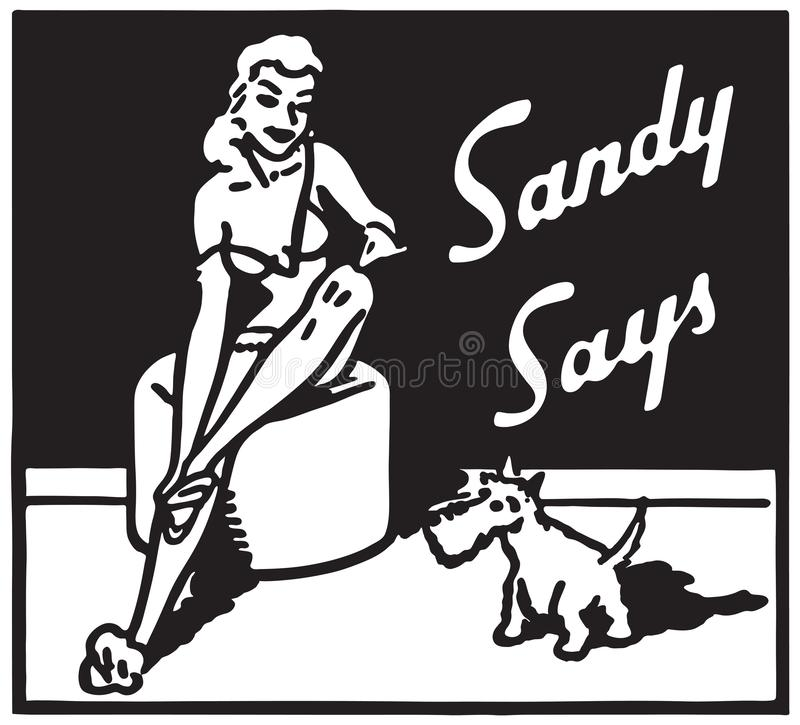 Sandy Says 14. Retro Ad Art Banner stock illustration