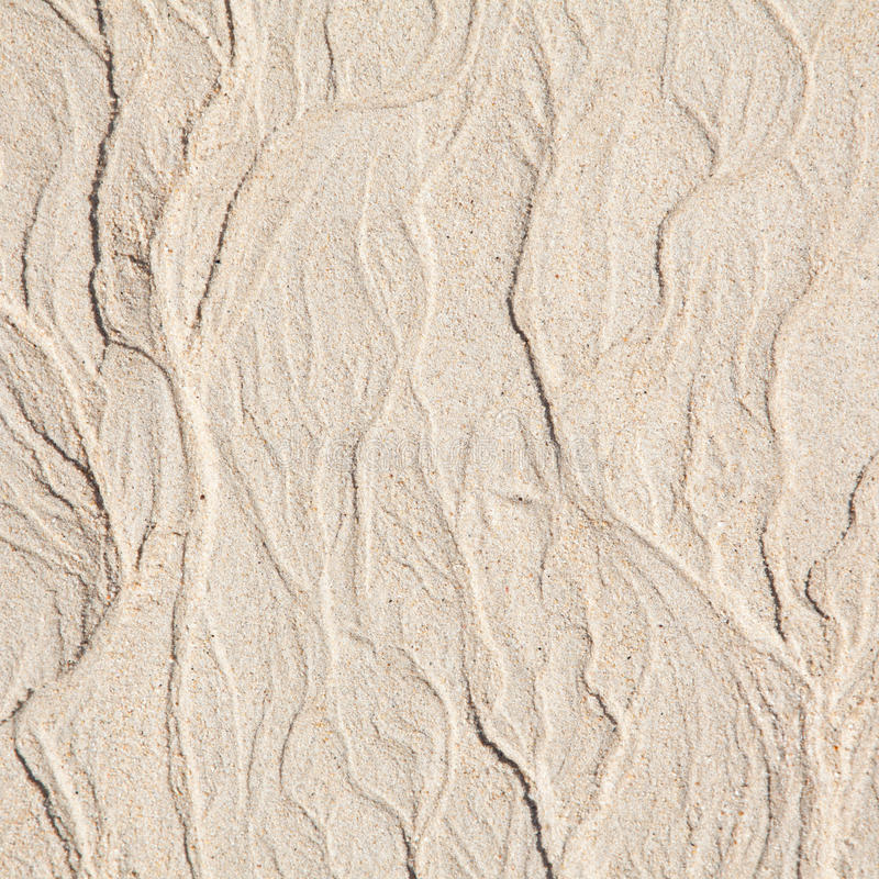 Sandy shore background. Pattern left by the tide on a fine white sand stock photos