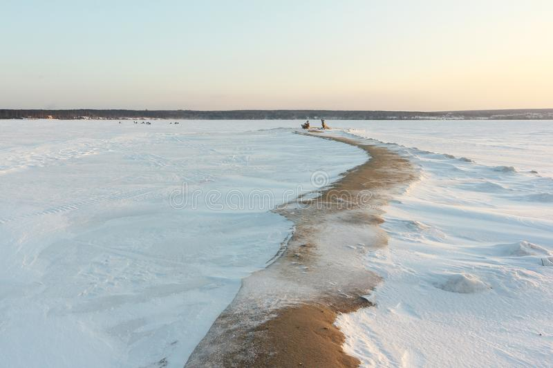 Sandy spit on the island at the reservoir in winter, Ob reservoir, Siberia. Sandy spit on the island at the reservoir in winter, Tanwan Island, Ob reservoir royalty free stock images