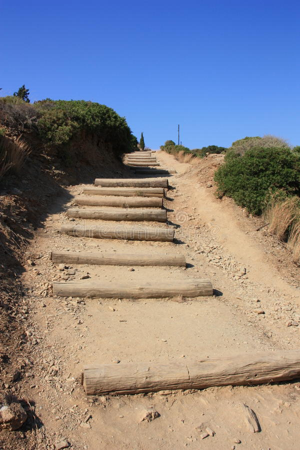 Sandy stairs leading upward royalty free stock images