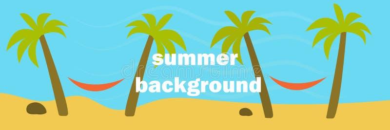 Sandy-Strand, Palmen zwischen ihnen sind Hängematten, Ozean oder Meer und Sand, panoramische Illustration, horizontaler Hintergru vektor abbildung