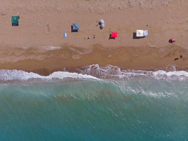 Sandy-Strand von oben, Peloponess - Griechenland lizenzfreie stockfotografie