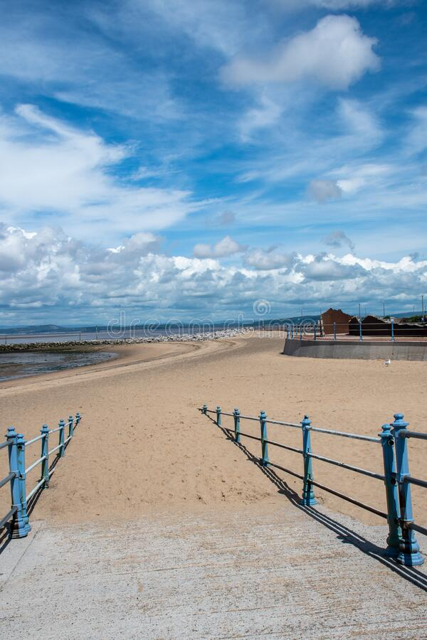 Sandy sulla spiaggia di Morecombe fotografia stock