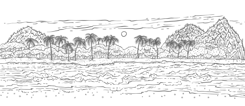 Sandy-Tropeninsel mit Meereswellen surfen und Palmen Schwarzer weißer Vektorskizzen-Landschaftsstrand im Ozean für Sommer stock abbildung