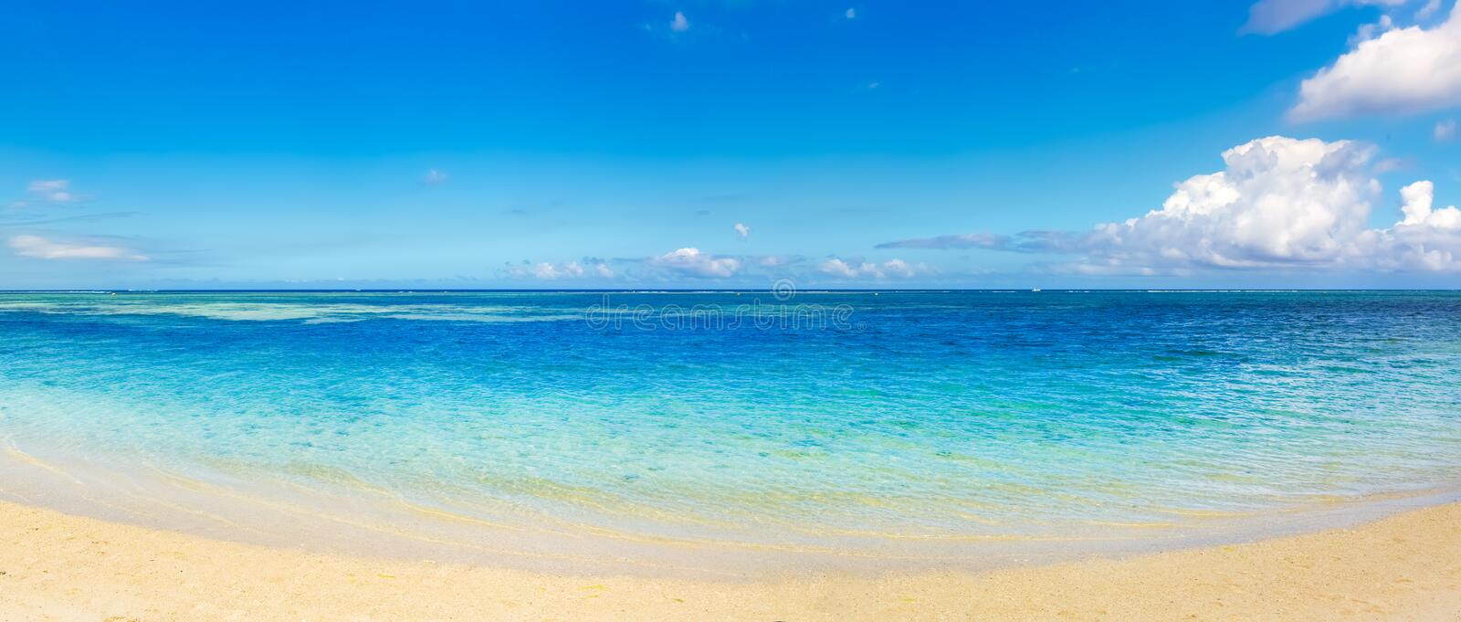 Sandy tropical beach. Beautiful landscape. Panorama. royalty free stock photos