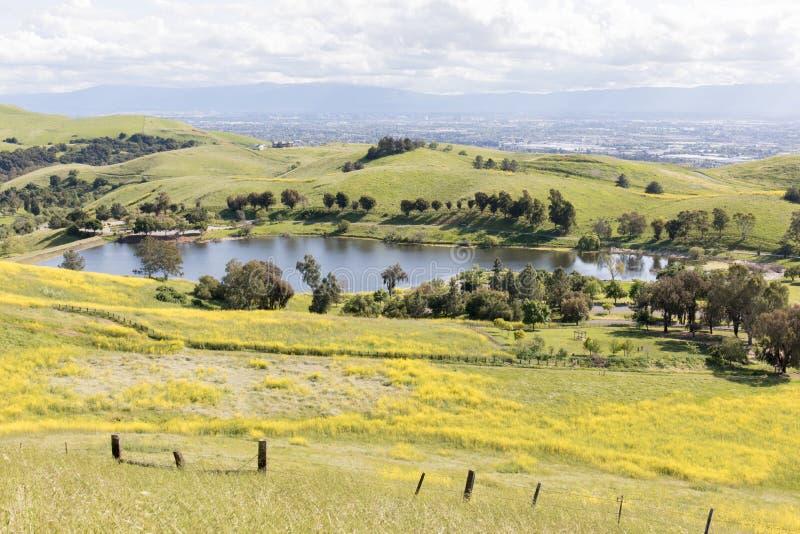 Sandy Wool Lake and Santa Clara Valley at Springtime. Ed R. Levin County Park, Milpitas, Santa Clara County, California, USA stock images