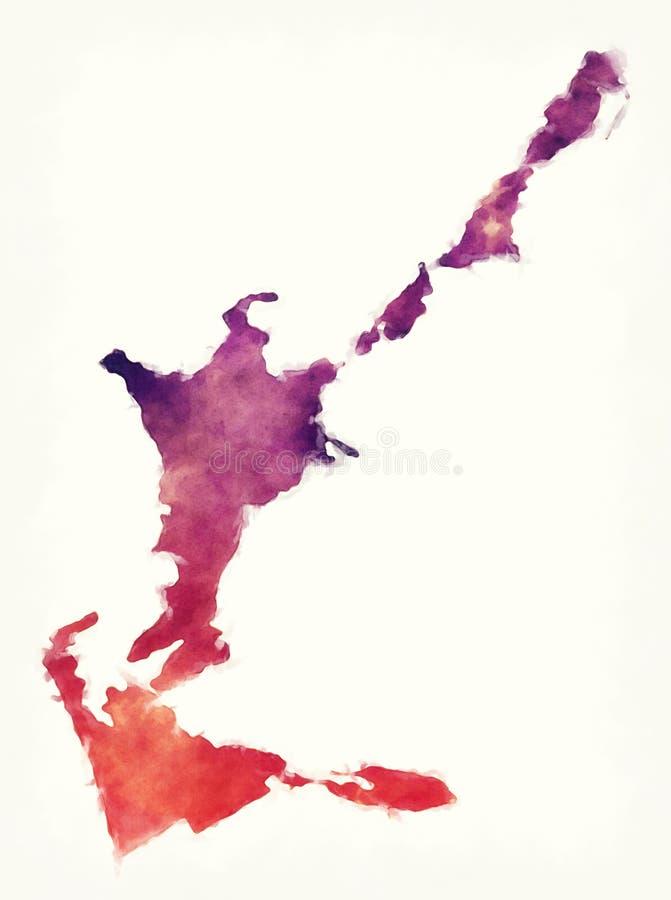 Sandys教区百慕大的水彩地图在白色后面前面的 皇族释放例证