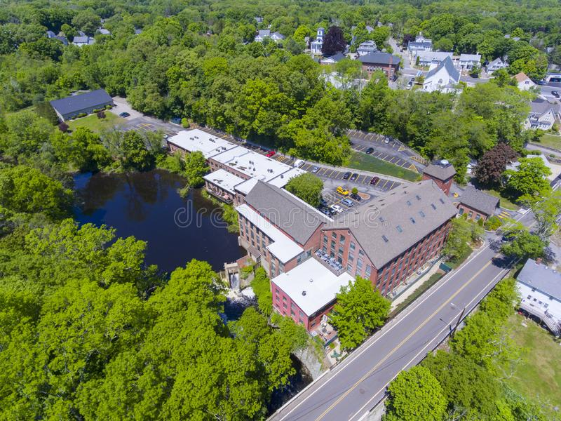 Sanford Mill aerial view, Medway, Massachusetts, USA. Sandford Mill on Charles River aerial view in Medway historic town center in summer, Medway, Boston Metro royalty free stock photography