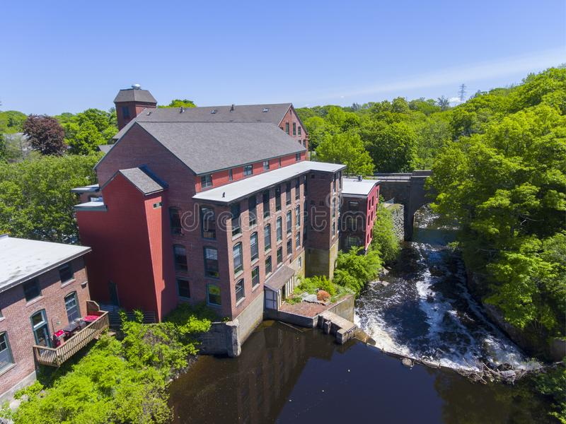 Sanford Mill aerial view, Medway, Massachusetts, USA. Sandford Mill on Charles River aerial view in Medway historic town center in summer, Medway, Boston Metro stock images