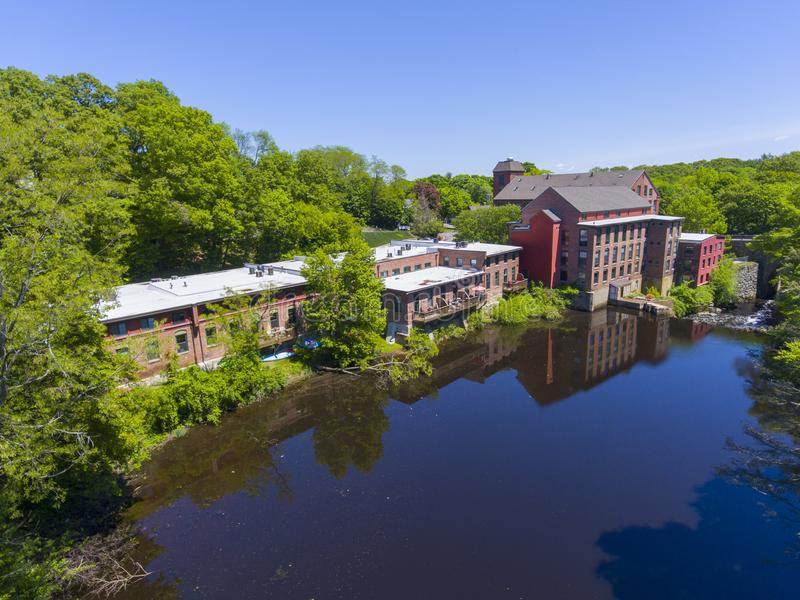Sanford Mill aerial view, Medway, Massachusetts, USA. Sandford Mill on Charles River aerial view in Medway historic town center in summer, Medway, Boston Metro royalty free stock photo