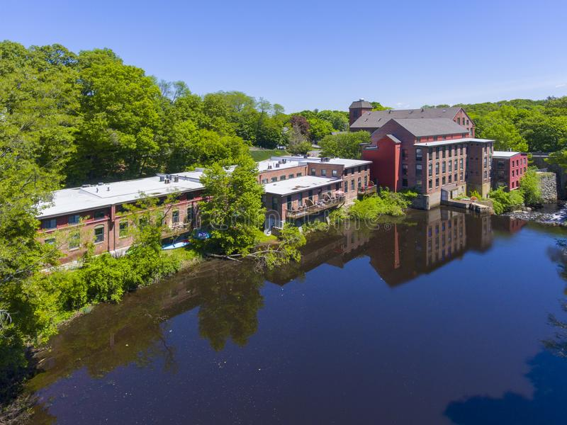 Sanford Mill aerial view, Medway, Massachusetts, USA. Sandford Mill on Charles River aerial view in Medway historic town center in summer, Medway, Boston Metro royalty free stock images