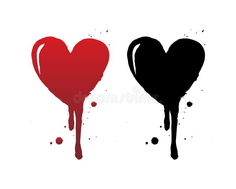 Sang d'égoutture ou course rouge de brosse de coeur d'isolement sur le fond blanc Coeur grunge noir tiré par la main illustration libre de droits