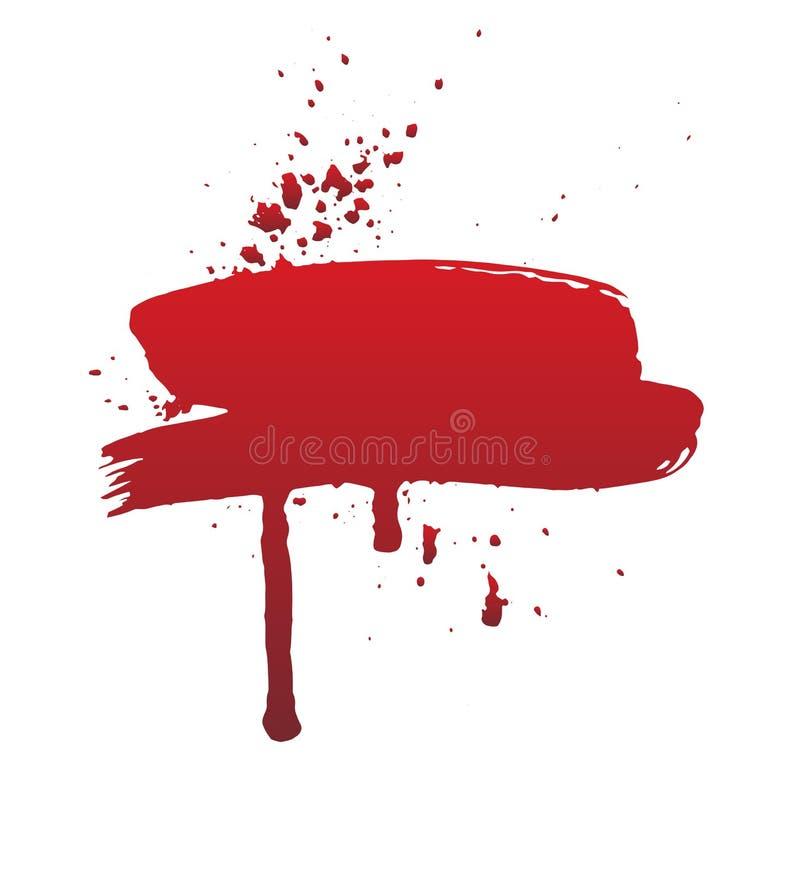 Sang d'égoutture ou course rouge de brosse Concept de Halloween, illustration d'éclaboussure d'encre illustration libre de droits