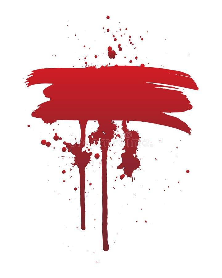 Sang d'égoutture ou course rouge de brosse Concept de Halloween, illustration d'éclaboussure d'encre illustration stock