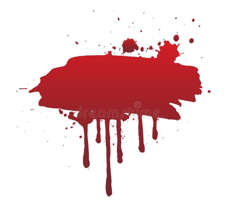 Sang d'égoutture ou course rouge de brosse d'isolement sur le fond blanc illustration libre de droits