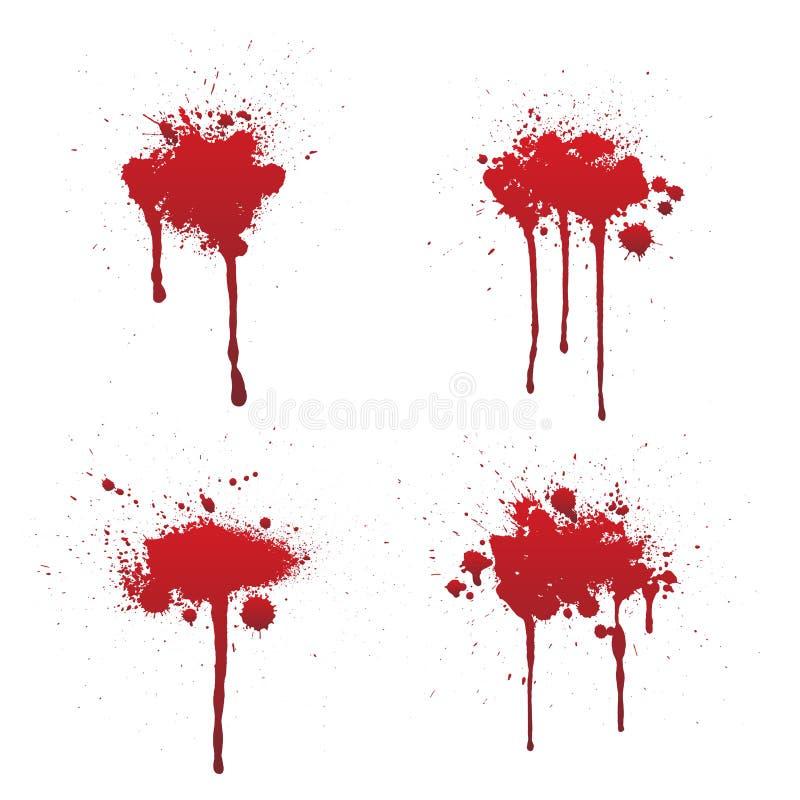 Sang d'égoutture ou ensemble rouge de peinture d'isolement sur le fond blanc illustration stock