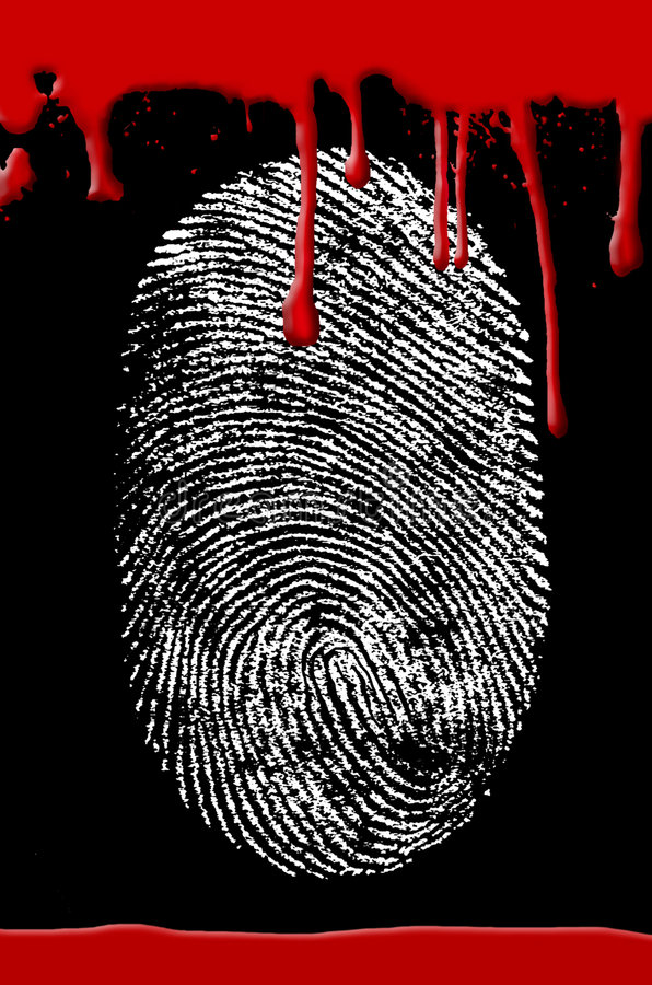 Sang d'empreinte digitale de scène du crime illustration stock