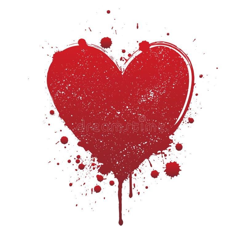 Sang d'?goutture ou course rouge de brosse de coeur d'isolement sur le fond blanc illustration de vecteur
