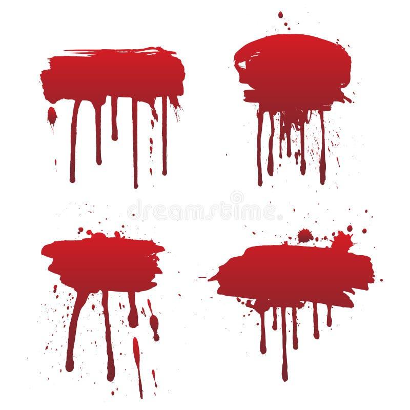 Sang d'?goutture ou ensemble rouge de peinture d'isolement sur le fond blanc illustration stock