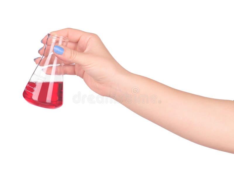 Sang de fixation de main dans le tube à essai images libres de droits