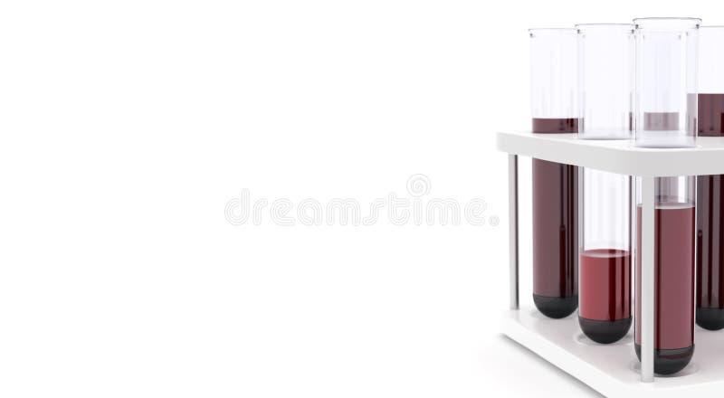 Sang de tubes à essai de médecine pour l'illustration blanche du fond 3d photographie stock