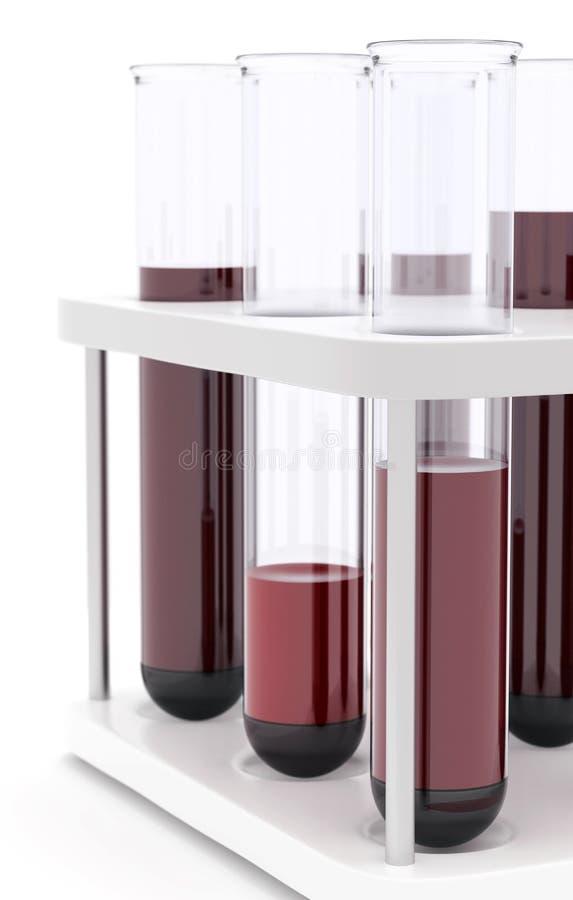 Sang de tubes à essai de médecine pour le fond blanc image libre de droits