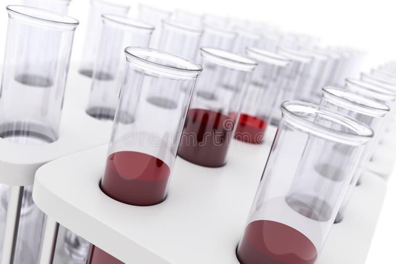 Sang de tubes à essai de médecine pour le fond blanc photographie stock