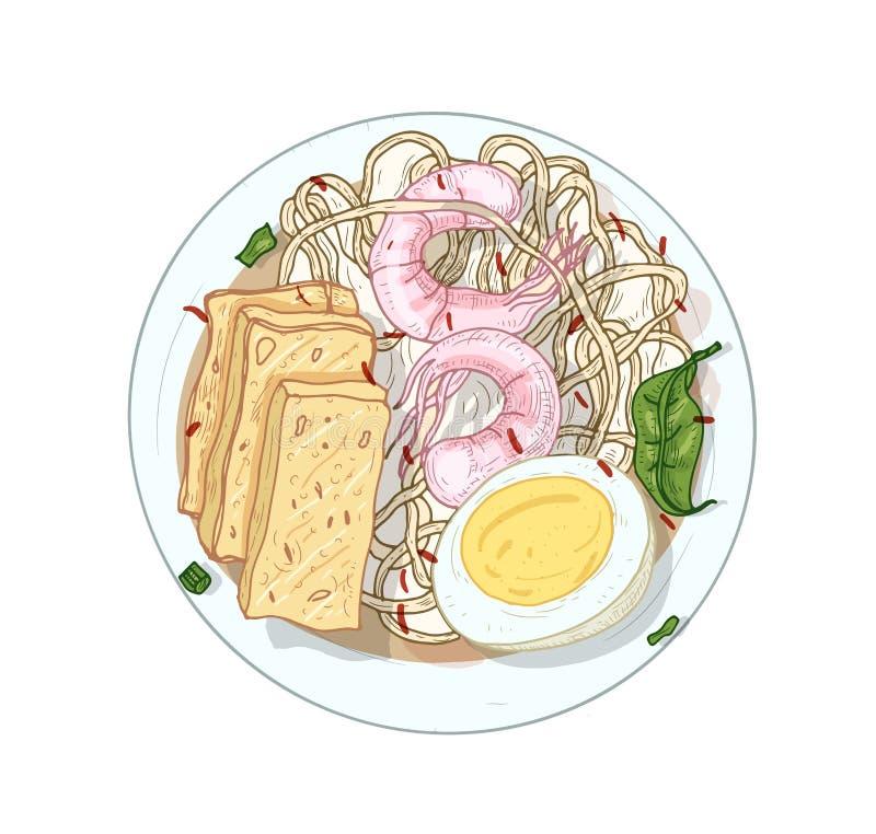 Sang har, noodle di riso illustrazione vettoriale realistica Una deliziosa pianta di gourmet isolata su fondo bianco Tradizionale royalty illustrazione gratis