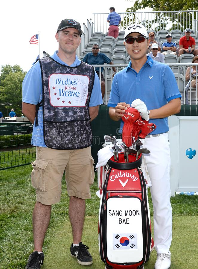 Sang Moon Bae bij 2015 Barclays pro-Am hield in Plainfield Country Club in Edison, New Jersey royalty-vrije stock foto's