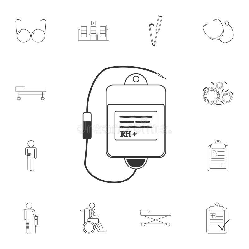 Sang pour l'icône de transfusion Illustration simple d'élément Sang pour la conception de symbole de transfusion de l'ensemble mé illustration libre de droits