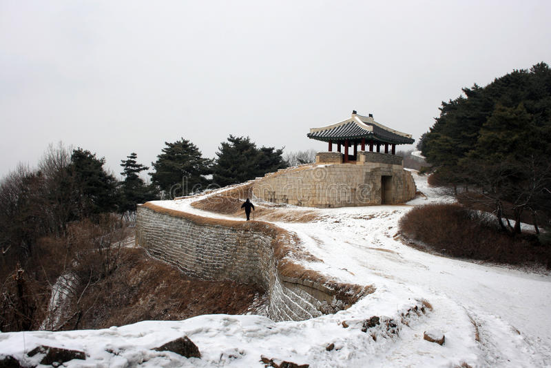 Sangdangsanseong堡垒 30更改的卫兵7月韩国国王好朋友s汉城南部 库存照片