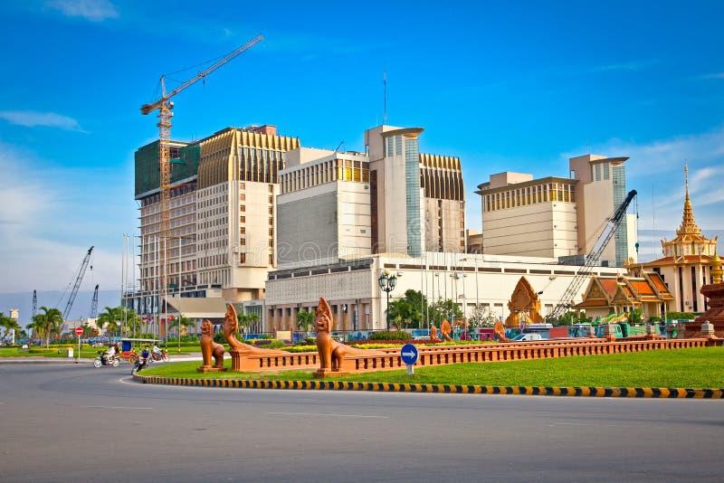 Sangkat Chaktomuk square in Phnom Penh, Cambodia. Sangkat Chaktomuk square and Naga World Complex behind, Phnom Penh, Cambodia stock photography