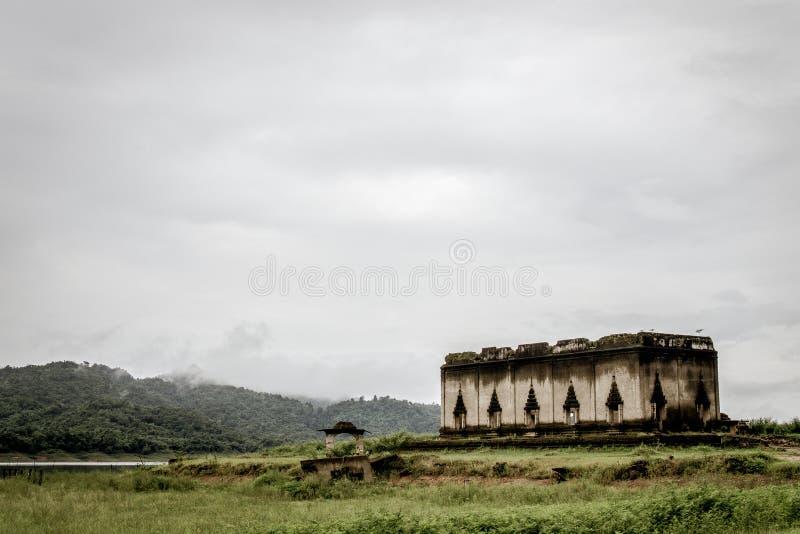 Sangklaburi underwater Temple stock image