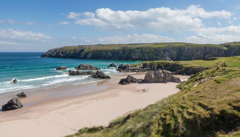 Sango的看法在德内斯北苏格兰铺沙海滩 免版税图库摄影