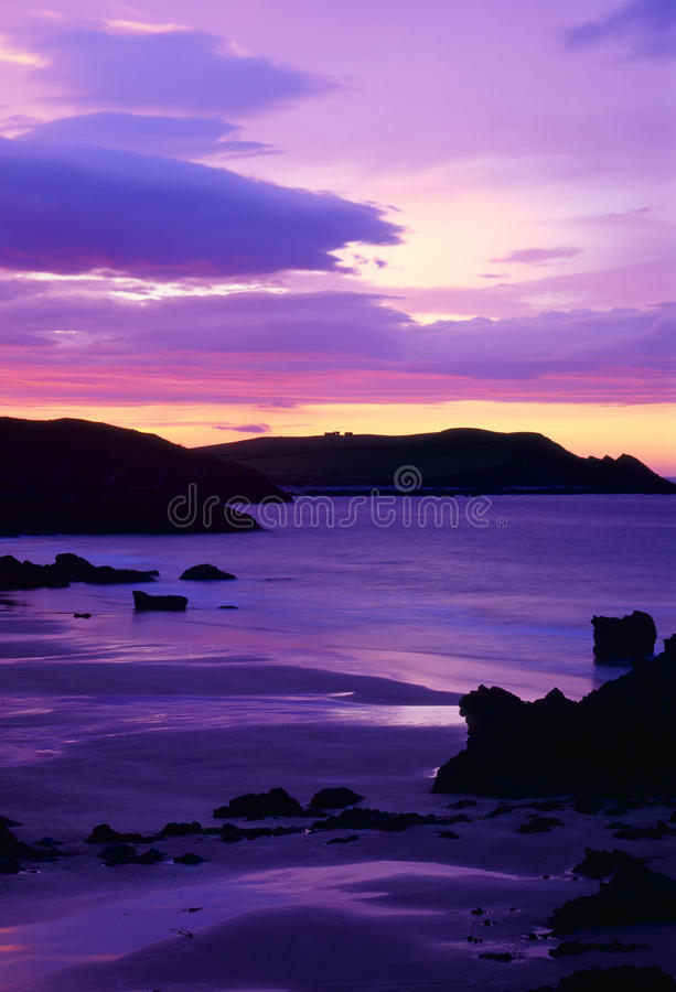 Sango bay purple sunset, Scotland royalty free stock photography
