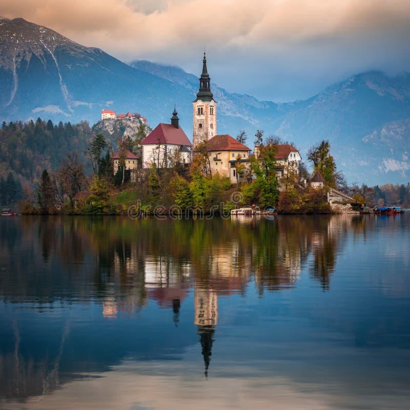 Sangrado, Eslovênia - o nascer do sol bonito do outono no lago sangrou com a igreja famosa da peregrinação da suposição de Maria imagens de stock