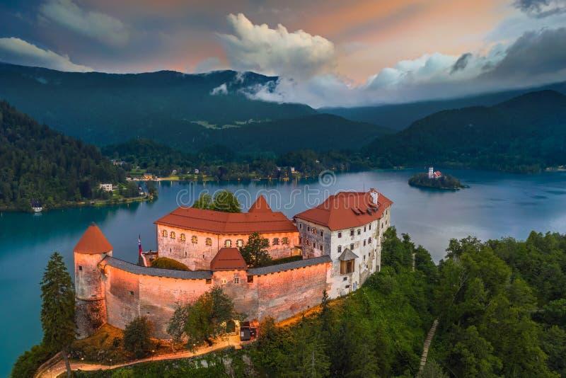 Sangrado, Eslovênia - opinião aérea o graduado sangrado iluminado bonito de Blejski do castelo com a igreja da suposição de Maria fotos de stock