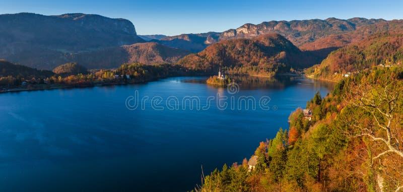 Sangrado, Eslovênia - a opinião panorâmico da skyline do lago sangrou com folha morna do outono imagem de stock