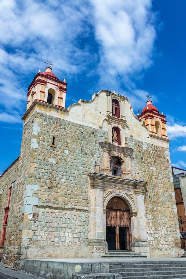 Sangre de Cristo Church. Vertical view of Sangre de Cristo church in historic Oaxaca, Mexico royalty free stock photo