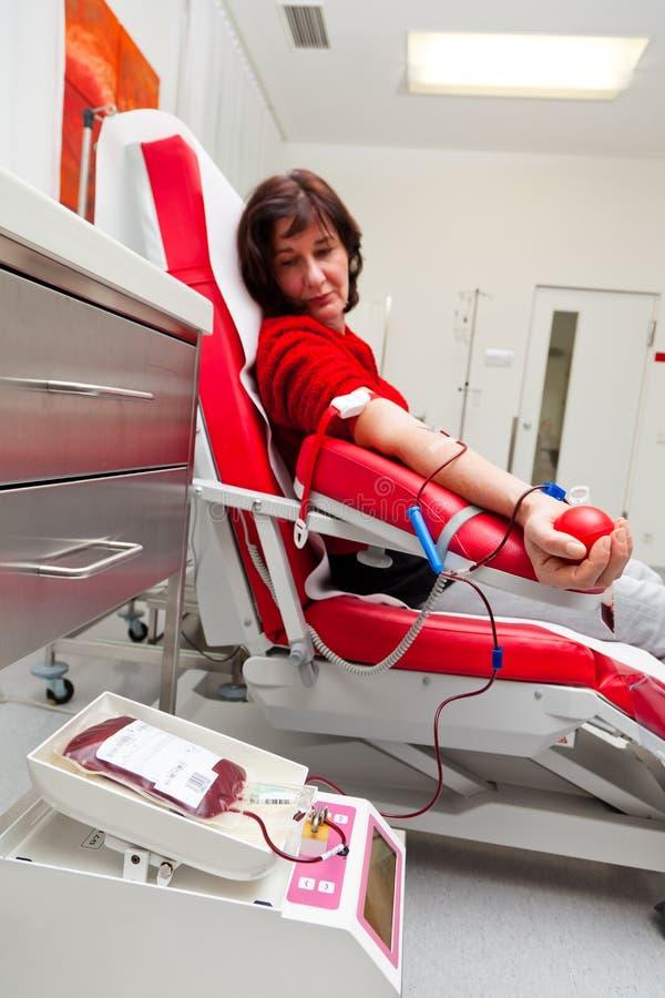 Sangre de las donaciones de sangre en laboratorio de la sangre foto de archivo libre de regalías