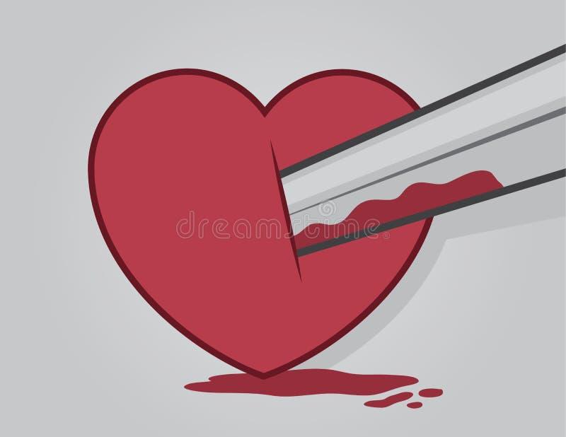 Sangre del corazón de la espada stock de ilustración