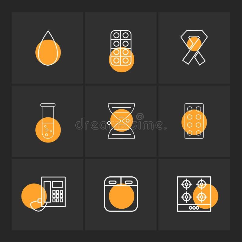 sangre, medicina, cáncer, cubilete, DNA, tabletas, teléfono, ilustración del vector