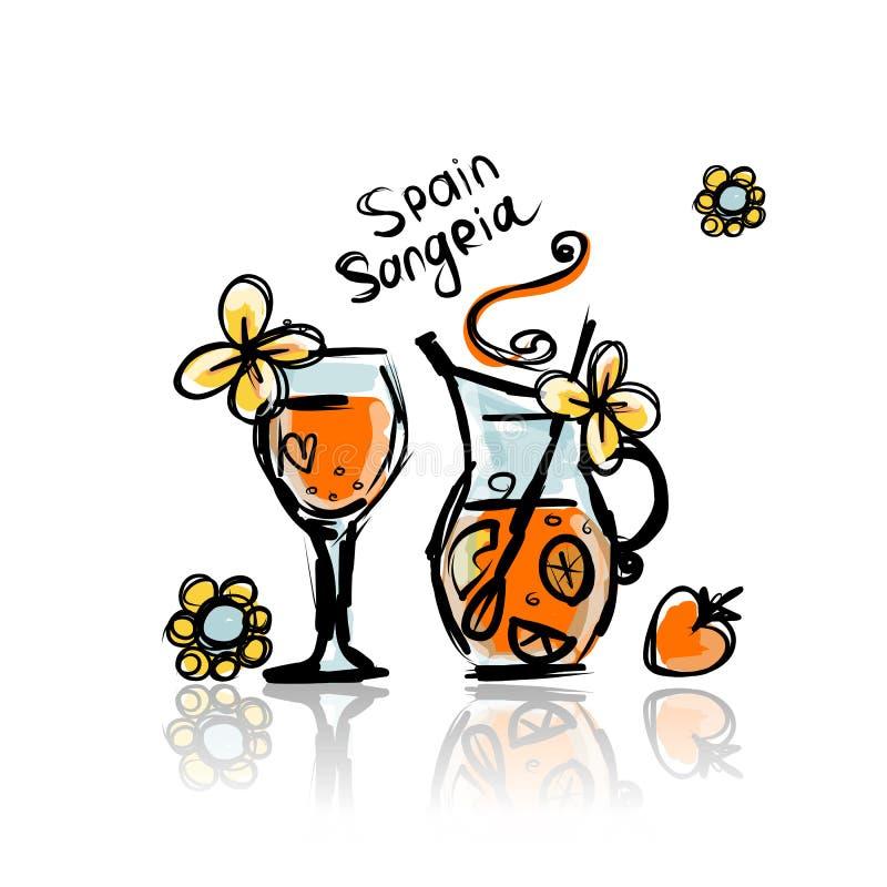 Sangria, bebida do espanhol Esboço para seu projeto ilustração stock