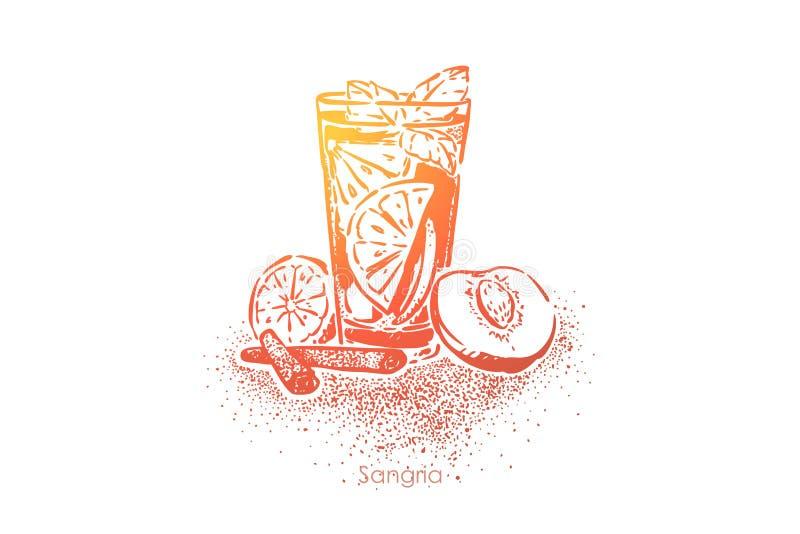 Sangria, bevanda di estate con vino rosso, frutti, zucchero, acqua gassate e brandy, succo fresco con la fetta del limone illustrazione di stock