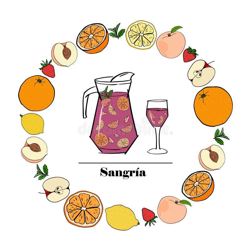 Sangria, boisson espagnole traditionnelle d'alcool illustration libre de droits