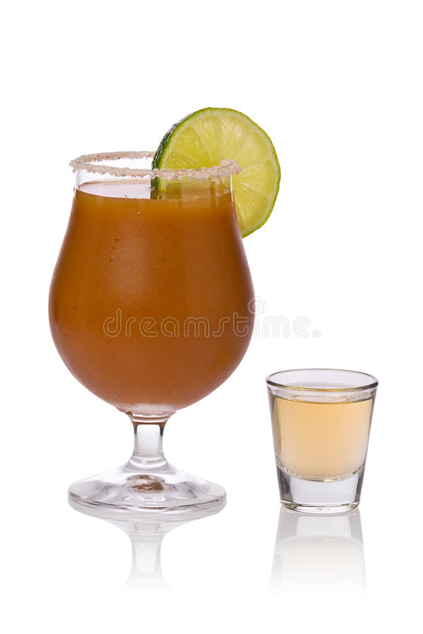 Sangrita with Shot of Tequila stock images