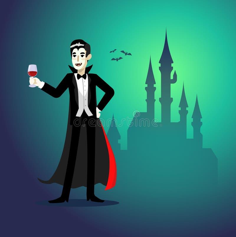 Sangue bebendo do vampiro dos desenhos animados na frente do castelo ilustração do vetor