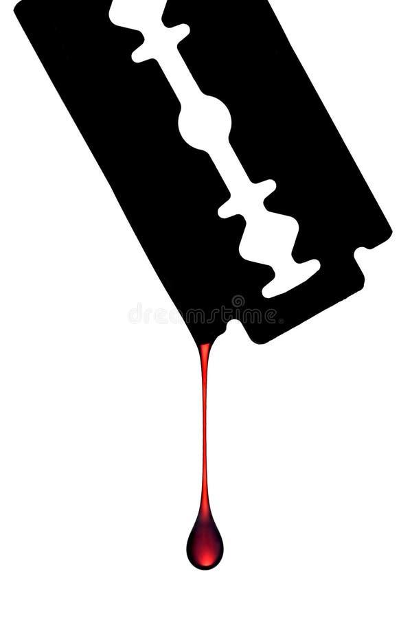 Sangue che gocciola fuori dalla lametta fotografia stock